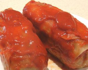 Голубцы мясные, приготовлены по моему рецепту, вкусные очень с домашним кетчупом