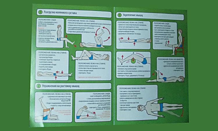 Памятка содержит схемы упражнений для разгрузки коленного сустава