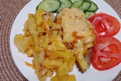 рыба с картофелем под сыром